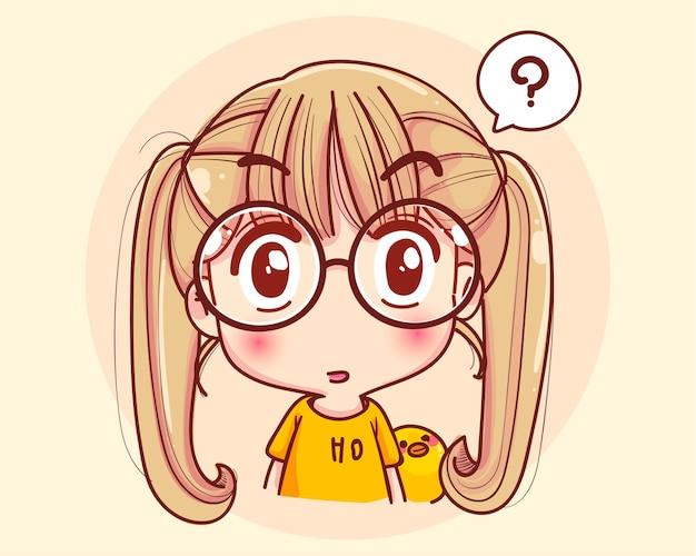 Jong meisje denken gezicht en cartoon afbeelding afvragen