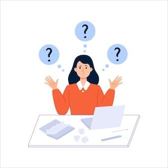 Jong meisje denken tijdens het werken of studeren