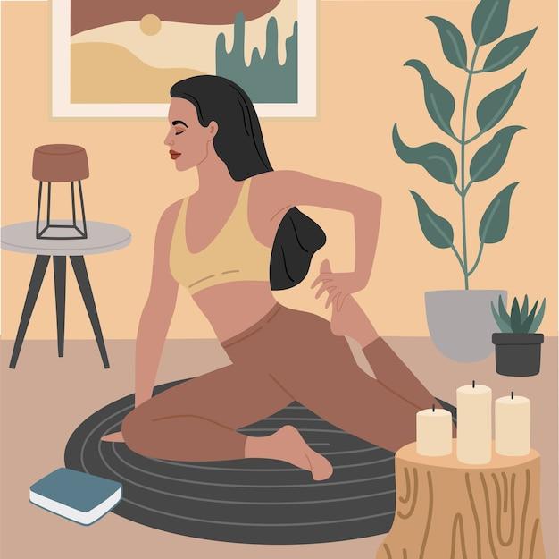 Jong meisje doet oefeningen voor uitrekken, yoga houdingen. gezellig appartement met stijlvol interieur, decoratieve kamerplanten.