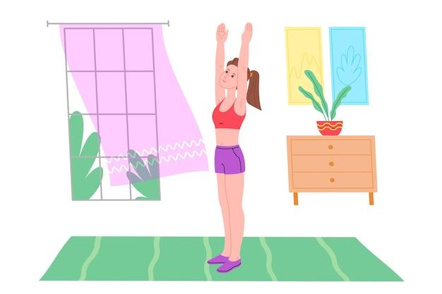 Jong meisje doet sport fysieke oefeningen, thuis workouts en fitness thuis tijdens quarantaine en leidt een gezonde levensstijl. platte vectorillustratie. mensen, mannen en vrouwen die het huis als sportschool gebruiken.