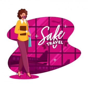 Jong meisje draagt beschermend masker met handtas en uitzicht op de luchthaven op roze en witte achtergrond voor veilig reizen.