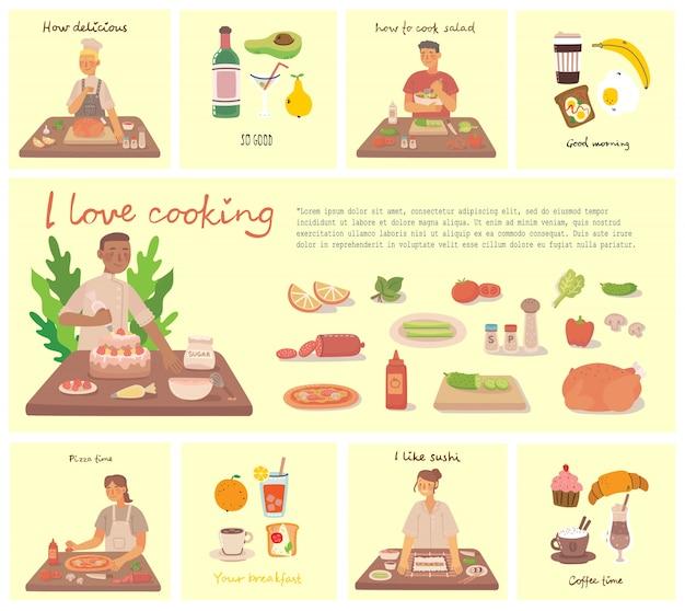 Jong meisje en jongen koken pizza, cake en salade in keuken thuis. koken pizza en salade met ingrediënten. illustratie in vlakke stijl.