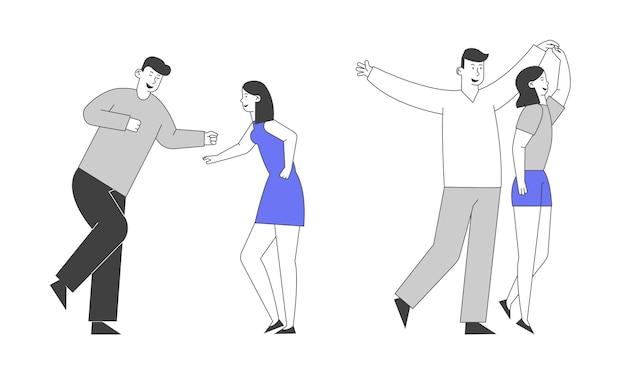 Jong meisje en man paar een bezoek aan de nachtclub dansen hand in hand