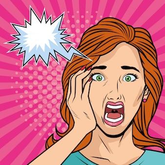 Jong meisje estressed met pop-artstijl van de uitdrukkingsbel