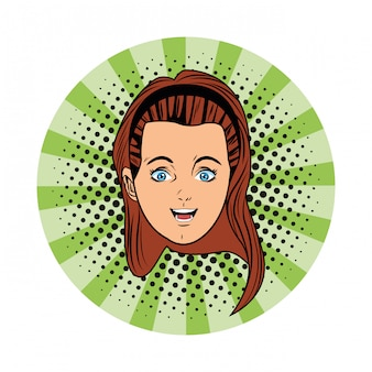 Jong meisje gezicht avatar cartoon popart