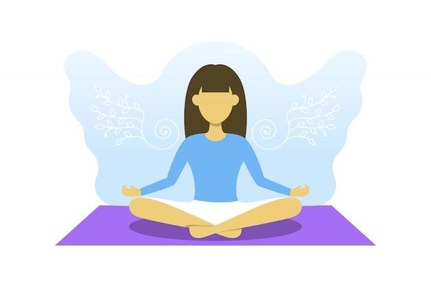 Jong meisje houdt zich bezig met meditatie. vector illustratie, yoga sport, gratis je geest concept. de vrouw in lotusbloem stelt met erachter engelenvleugels.