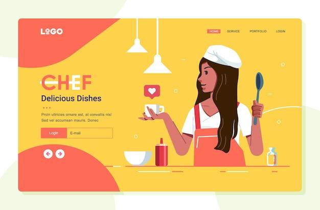 Jong meisje illustratie als chef-kok op de sjabloon voor spandoek van de website