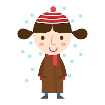 Jong meisje in een jas vector
