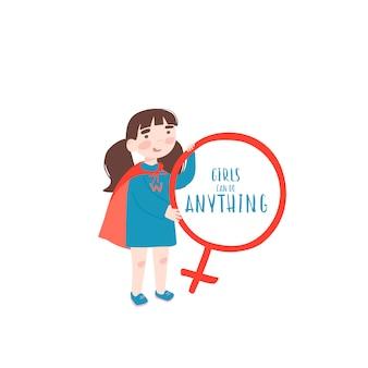Jong meisje in een superheld pak houdt een teken van venus