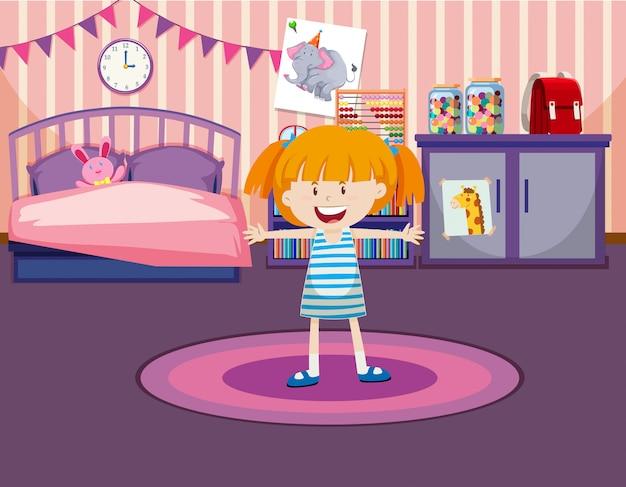 Jong meisje in haar kamer