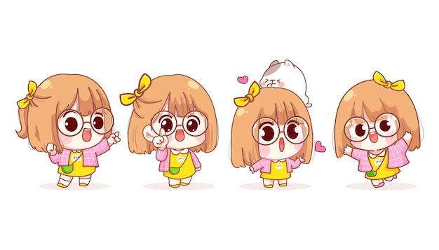 Jong meisje in verschillende gebaren cartoon afbeelding