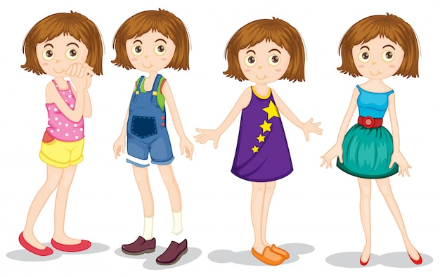 Jong meisje in verschillende kostuums