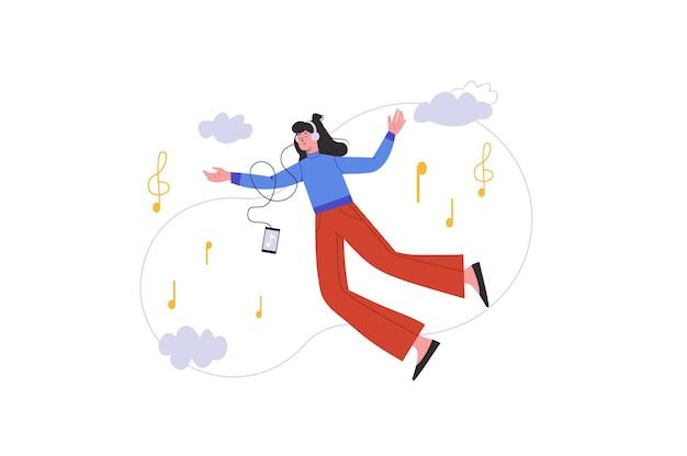 Jong meisje luisteren muziek met koptelefoon. gelukkige vrouw dromen en vliegen met melodie op smartphone, geïsoleerde mensenscène. ontspan met liedjesconcept. vectorillustratie in plat minimaal ontwerp