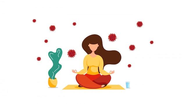 Jong meisje mediteert in lotushouding op een kleed, zelf geïsoleerd thuis om te vechten tegen coronavirus. blijf thuis concept.