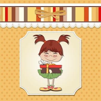 Jong meisje met cadeau