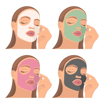 Jong meisje met een cosmetisch masker op het gezicht.