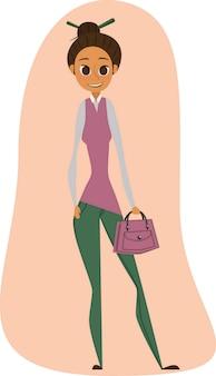 Jong meisje met een handtas. vrijetijdskledingscode.