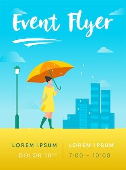 Jong meisje met oranje paraplu folder sjabloon