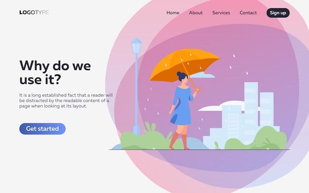 Jong meisje met oranje paraplu vlakke afbeelding. bestemmingspagina of websjabloon