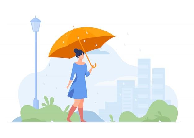 Jong meisje met oranje paraplu vlakke afbeelding
