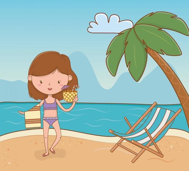 Jong meisje op de strandscène