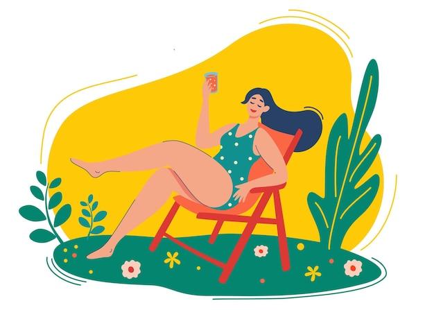 Jong meisje rust op een chaise longue in de natuur. vakantie, vakantie, rust, toerisme, ontspanningsconcept. fijne weekenden. cartoon vrouwelijk karakter vectorillustratie