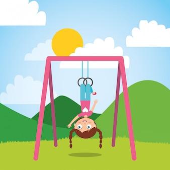Jong meisje spelen met bar ringen in het park en zonnige dag