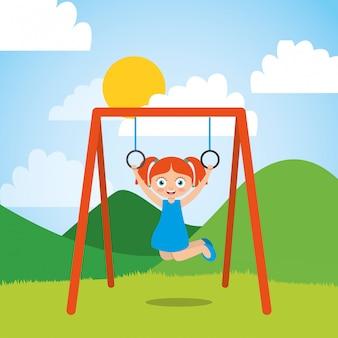 Jong meisje spelen met bar ringen in het park en zonnige dag Premium Vector