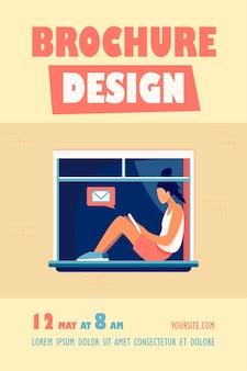 Jong meisje, zittend op het raam met de sjabloon van de folder van de tablet