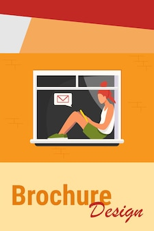 Jong meisje zittend op venster met tablet. bericht, mail, tiener platte vectorillustratie. communicatie en digitaal technologieconcept