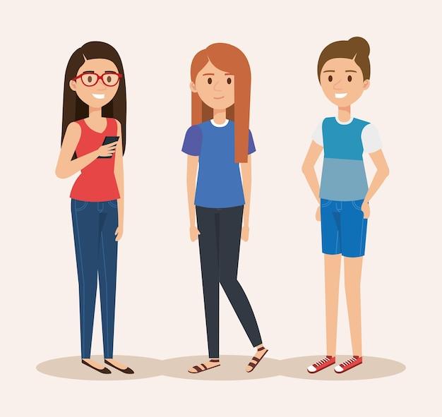 Jong meisjes avatars vector de illustratieontwerp van karakters
