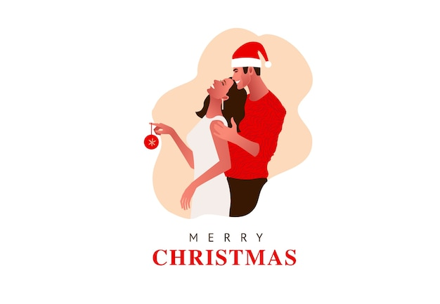 Jong mooi paar dat kerstmis viert. meisje houdt kerstbal. kerstmuts, cadeaus,