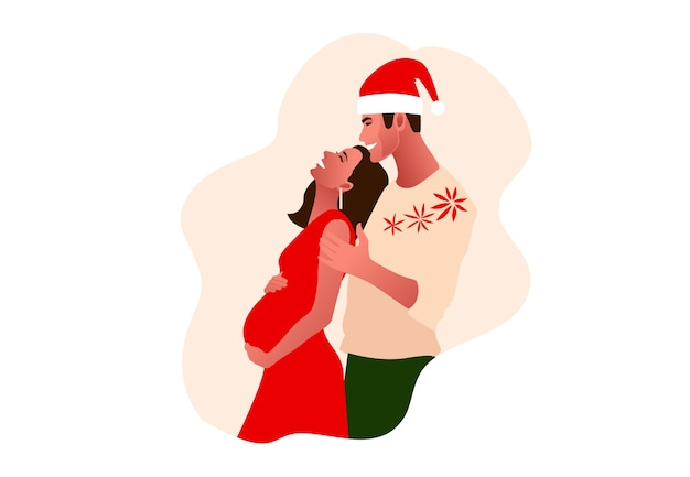 Jong mooi paar dat kerstmis viert.