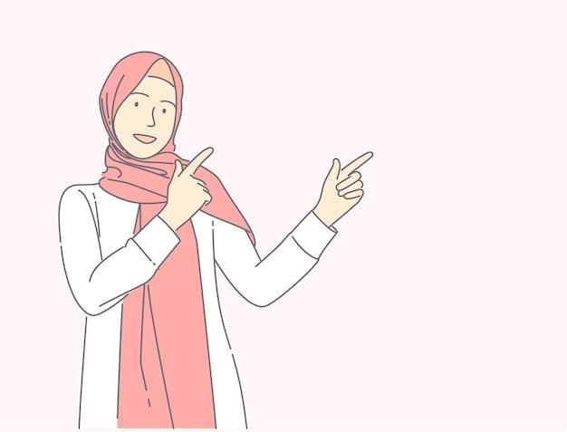 Jong moslimmeisje die hijab over geïsoleerde roze achtergrond richten vinger hand getrokken illustratie concept dragen.