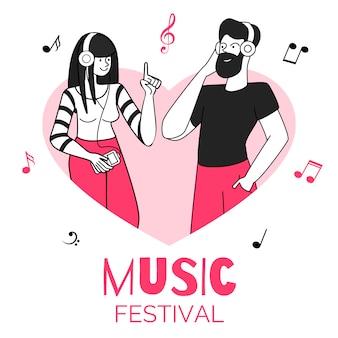 Jong paar in het kaderillustratie van de hartvorm. muziekfestival, onderhoudend evenement. mannelijke en vrouwelijke muziekluisteraars met karakters van de oortelefoons de vlakke die contour op wit worden geïsoleerd
