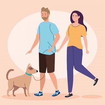 Jong paar op een gang met een ontwerp van de hondillustratie