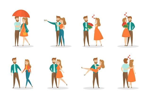 Jong romantisch koppel op een date. vrouw en man zijn verliefd. liefhebbers die samen knuffelen en wandelen. illustratie