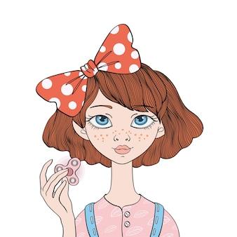 Jong schattig meisje speelt met fidget spinner. handspinner - populair anti-stress speelgoed voor schoolkinderen en volwassenen. illustratie, geïsoleerd op een witte achtergrond.