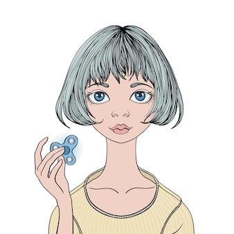 Jong schattig meisje speelt met fidget spinner. handspinner - populair antistress speelgoed voor schoolkinderen en volwassenen. illustratie, geïsoleerd op een witte achtergrond.