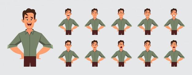 Jong slim jongenskarakter met verschillende gezichtsemoties voor uw ontwerp en animatie.