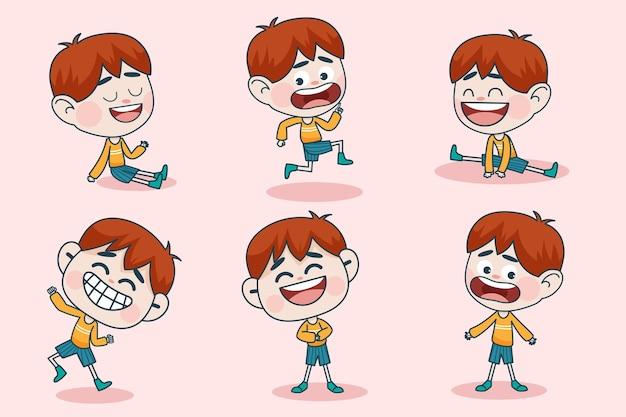Jong slim jongenskarakter met verschillende gezichtsuitdrukkingen en handhoudingen.
