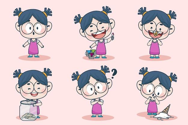 Jong slim meisjeskarakter met verschillende gezichtsuitdrukkingen en handhoudingen.