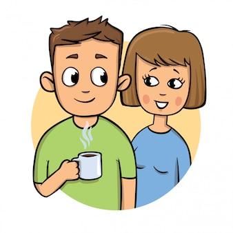 Jong stel. kerel die een mok, glimlachend meisje houdt. icoon. kleurrijke platte illustratie. op witte achtergrond.