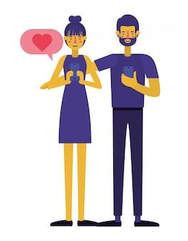 Jong stel met behulp van smartphone met liefde bericht
