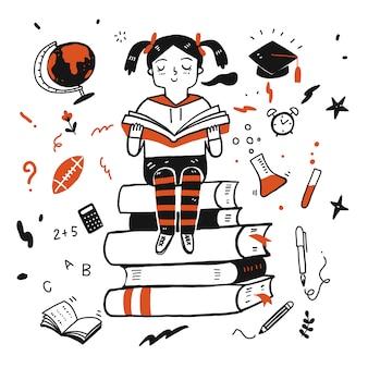 Jong studentenmeisje dat een boek leest