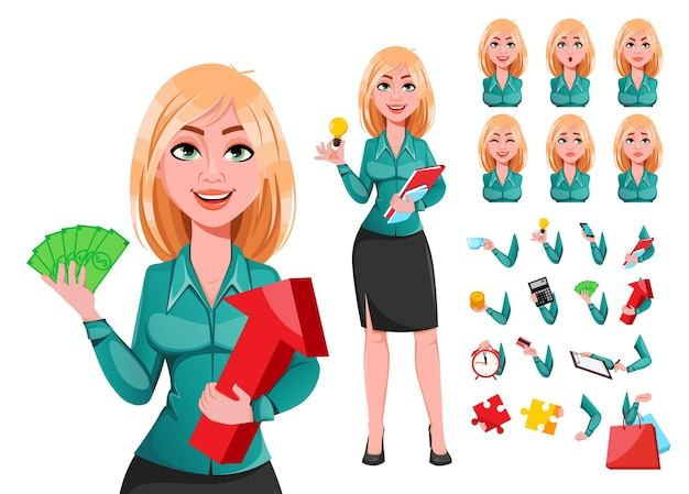 Jong succesvol zakenvrouwenpakket met emoties en dingen van lichaamsdelen