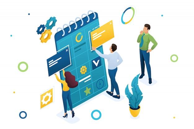 Jong team van ondernemers werkt aan het opstellen van een businessplan.