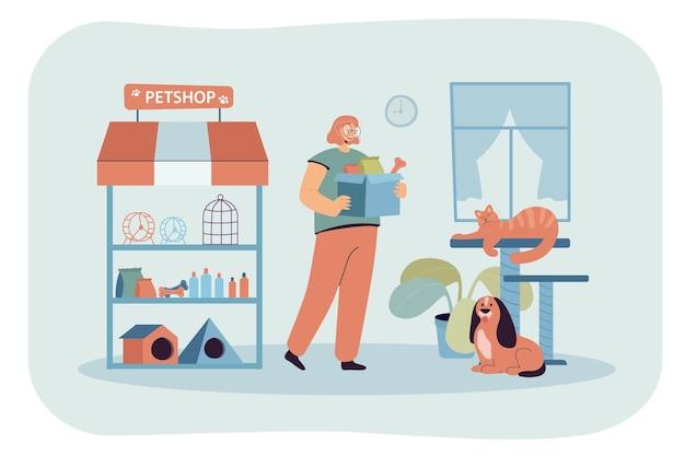 Jong tekenfilmmeisje dat in een kleine dierenwinkel werkt