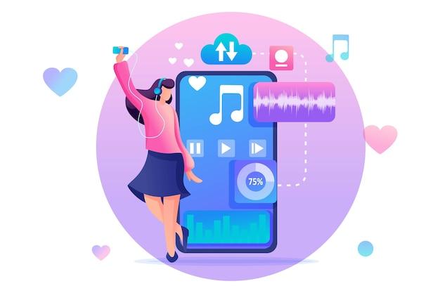 Jong tienermeisje dat via de mobiele app naar uw favoriete muziek op uw telefoon luistert.