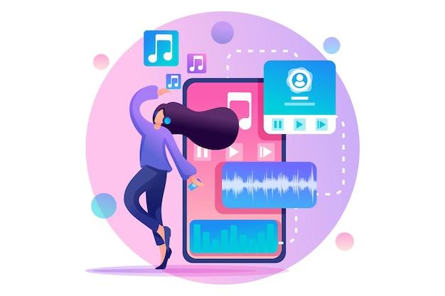 Jong tienermeisje luisteren naar muziek en dansen, muziekliefhebber.